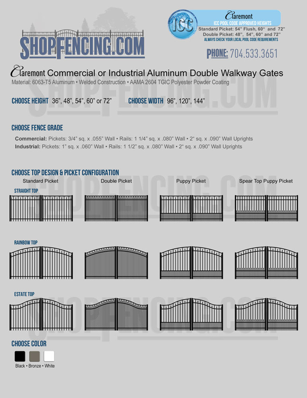Claremont Commercial or Industrial Aluminum Double Walkway Gates - Smooth Top With Spear Pickets