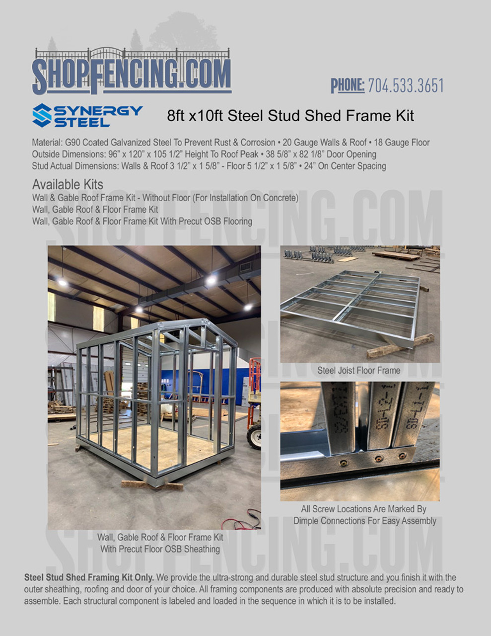 8x10 Steel Shed Frame Kit From ShopFencing.com