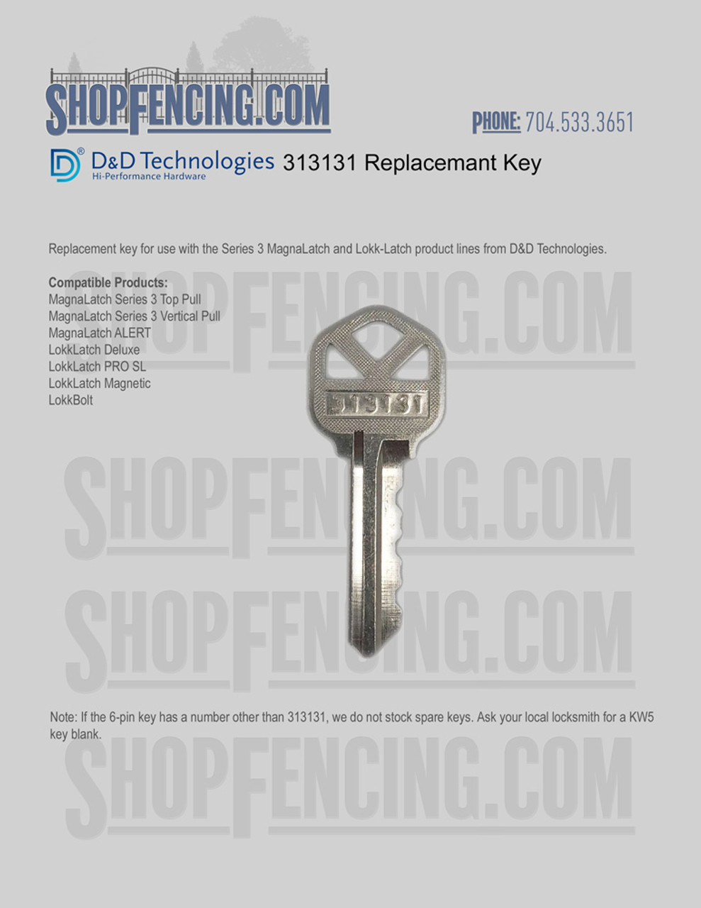 313131 Replacement Key For D&D Technologies Products