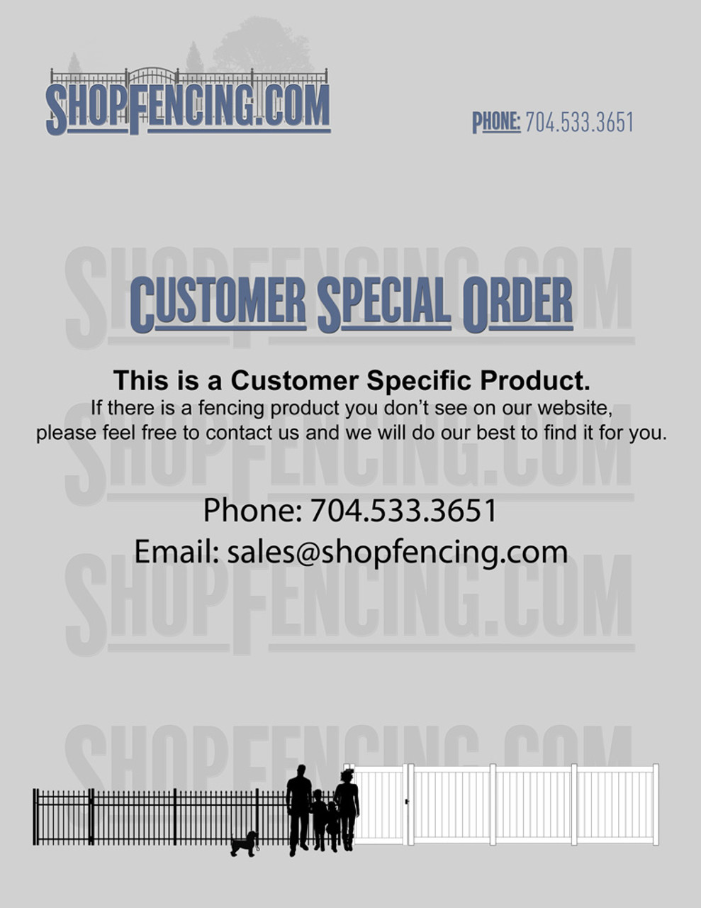 ShopFencing.com Customer Special Order