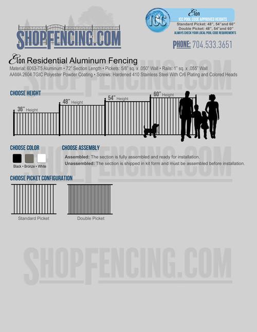 Elon Residential Aluminum Fencing From ShopFencing.com