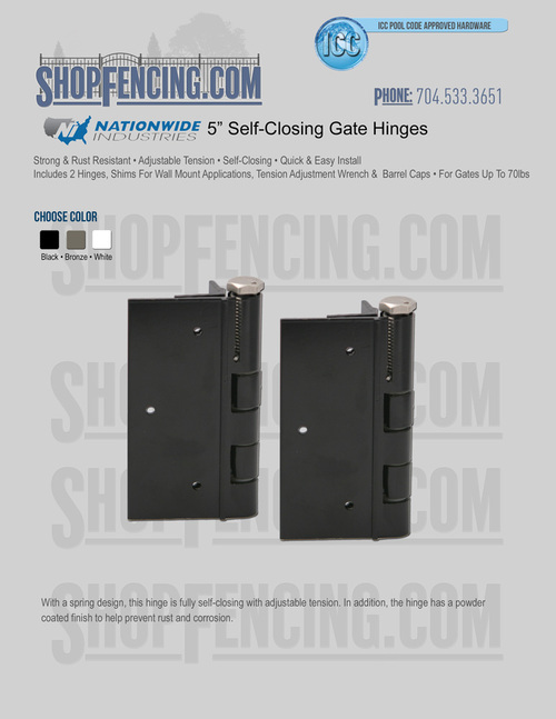 "5"" Self-Closing Gate Hinge"