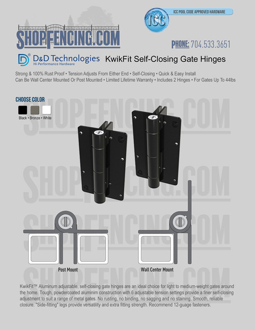 D&D Technologies KwikFit KF3A - Self-Closing, Multi Mount Gate Hinges