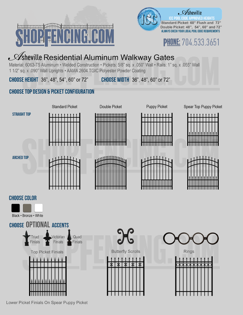 Residential Asheville Aluminum Walkway Gates From ShopFencing.com