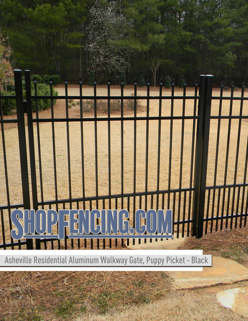 Black Residential Asheville Aluminum Walkway Gate From ShopFencing.com