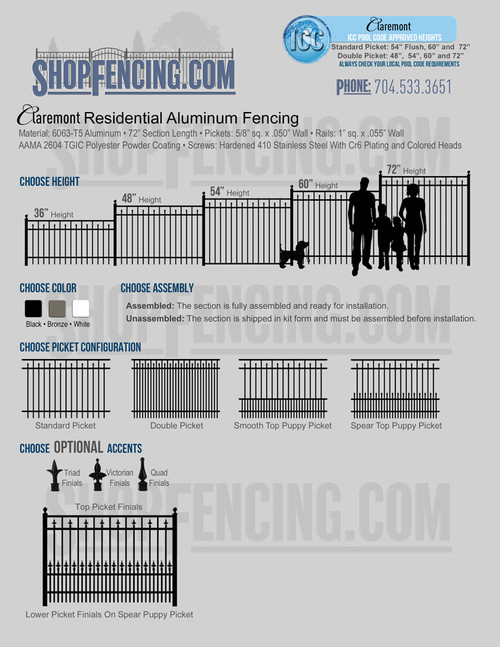 Claremont Residential Aluminum Fencing From ShopFencing.com