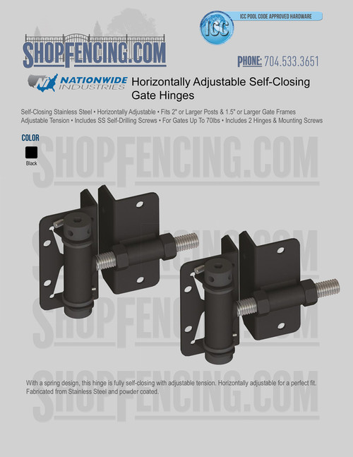 Horizontally Adjustable Self-Closing Hinges