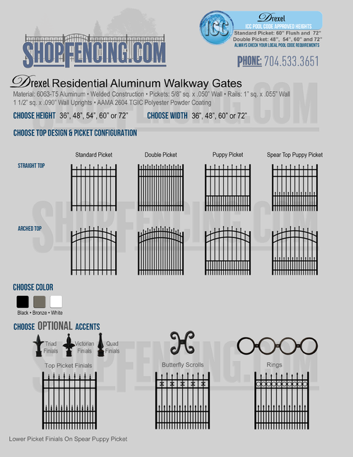 Residential Drexel Aluminum Walkway Gates From ShopFencing.com