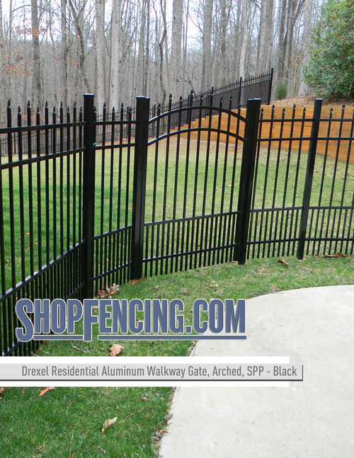 Black Residential Drexel Aluminum Walkway Gate From ShopFencing.com