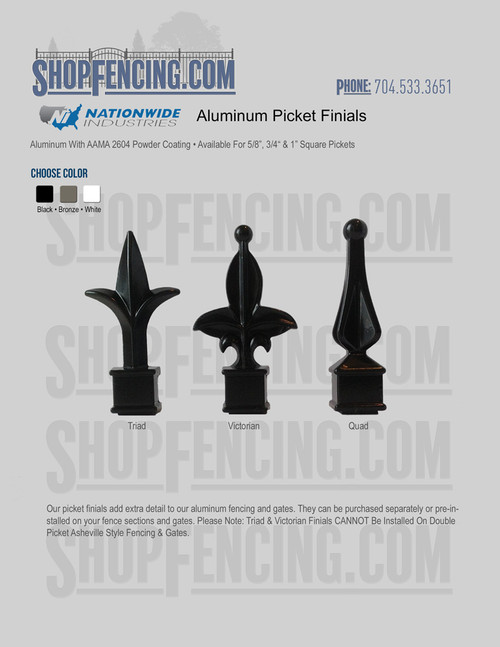 Aluminum Picket Finials