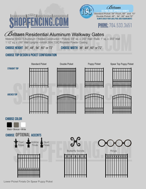 Residential Belhaven Aluminum Walkway Gates From ShopFencing.com