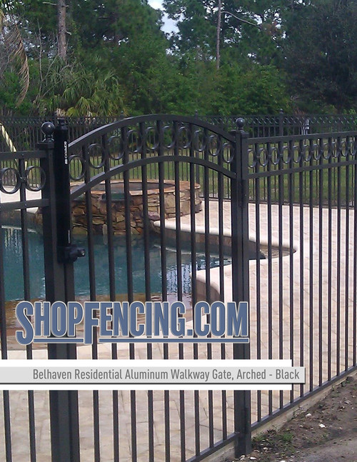 Black Residential Belhaven Aluminum Walkway Gate From ShopFencing.com