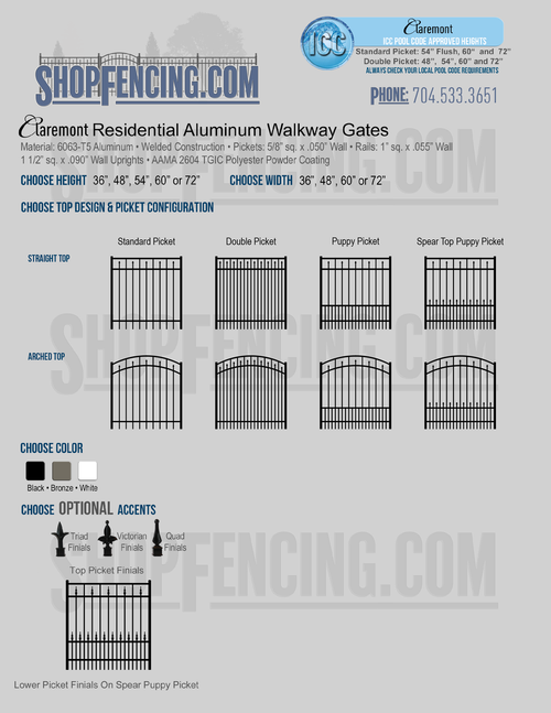 Residential Claremont  Aluminum Walkway Gates From ShopFencing.com