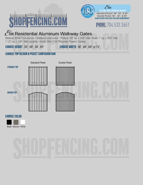 Residential Elon Aluminum Walkway Gates From ShopFencing.com