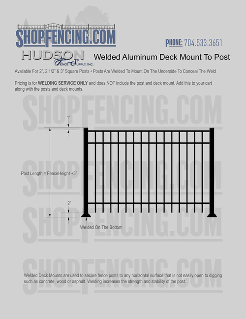 Welded Aluminum Deck Mount From ShopFencing.com