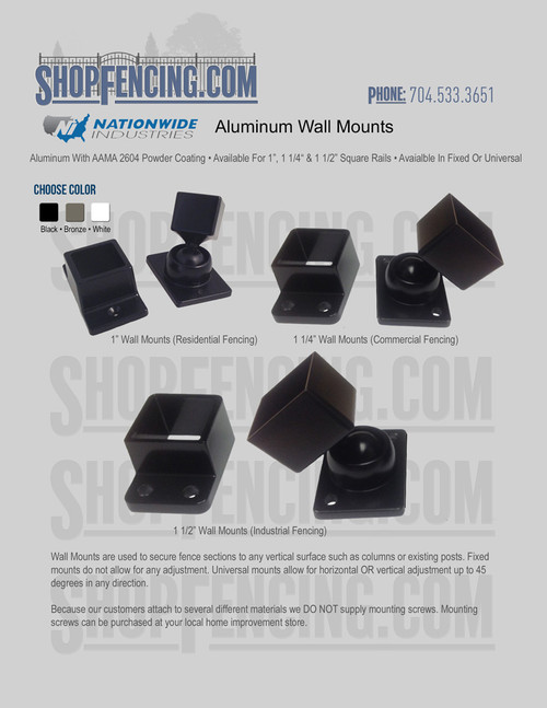 Aluminum Fence Wall Mount