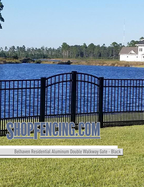 Residential Belhaven Aluminum Double Walkway Gate - Rainbow Arch Puppy Picket From ShopFencing.com