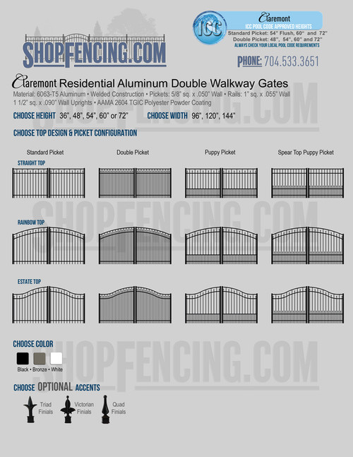 Residential Claremont Aluminum Double Walkway Gates From ShopFencing.com