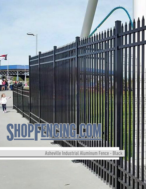 Black Industrial Asheville Aluminum Fencing From ShopFencing.com