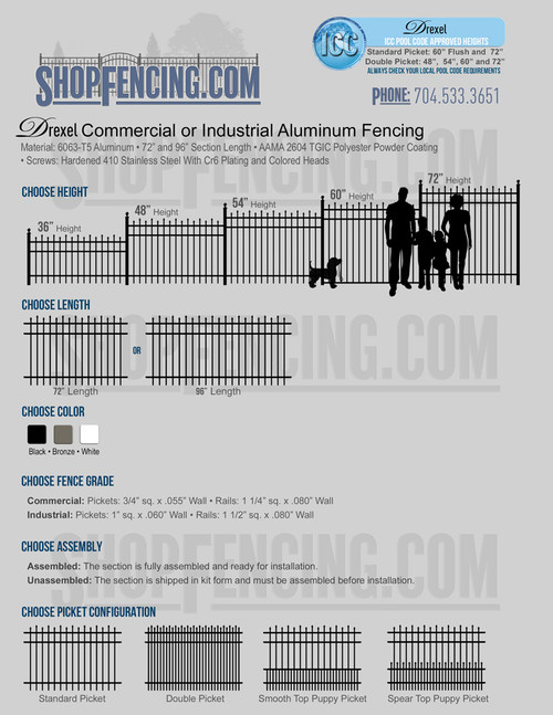 Commercial or Industrial Drexel Aluminum Fencing From ShopFencing.com