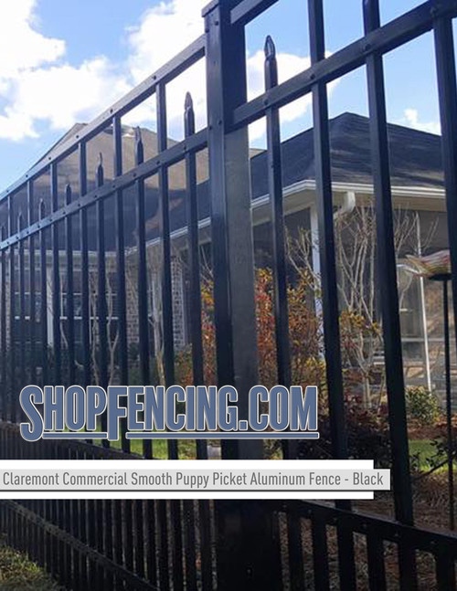 Black Commercial Claremont Aluminum Fencing From ShopFencing.com