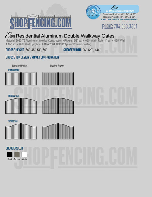 Residential Elon Aluminum Double Walkway Gates From ShopFencing.com