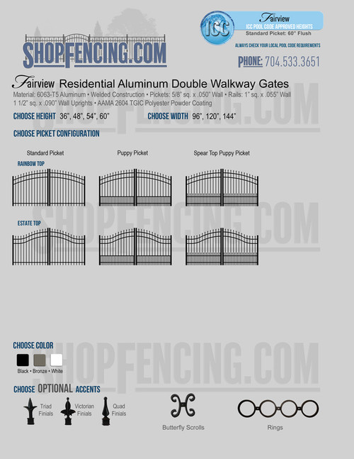 Residential Fairview Aluminum Double Walkway Gates From ShopFencing.com