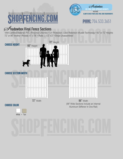Vinyl Shadow Box Fence Sections from Shopfencing.com
