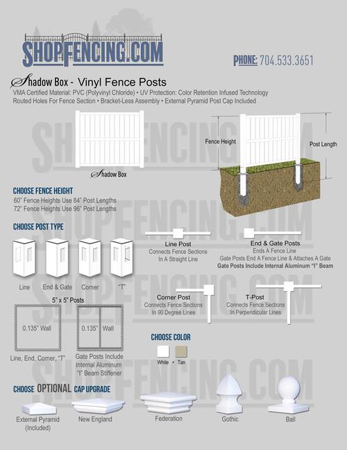 Vinyl Shadow Box Fence Posts From ShopFencing.com