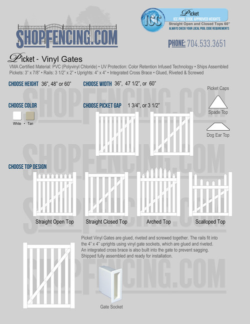 Vinyl Picket Fence Gates from Shopfencing.com