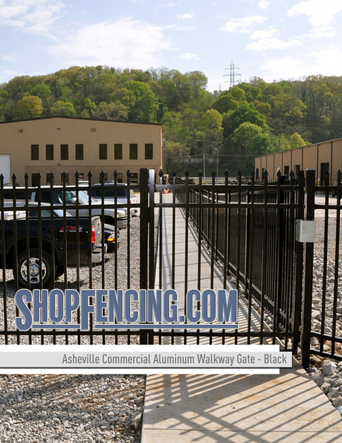 Black Commercial Asheville Aluminum Walkway Gates From ShopFencing.com