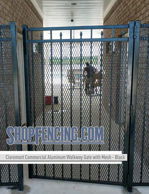 Black Commercial Claremont Aluminum Walkway Gate with Security Mesh