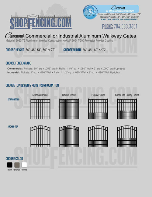 Commercial or Industrial Claremont Aluminum Walkway Gates From ShopFencing.com