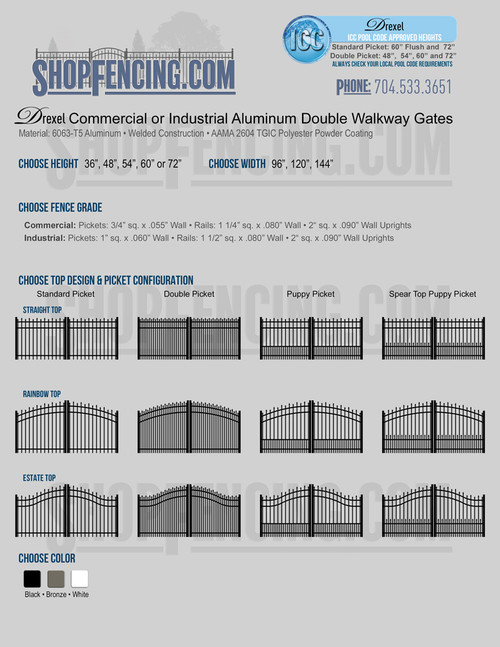 Drexel Commercial or Industrial Aluminum Double Walkway Gates - Alternating Spear Picket Top