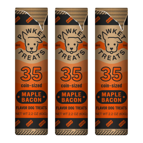 Maple Bacon Dog Treats Roll - 3-Pack