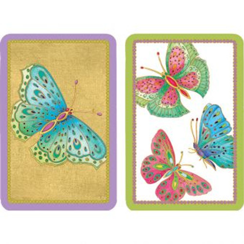 Playing Cards Jeweled Butterflies - Large Type
