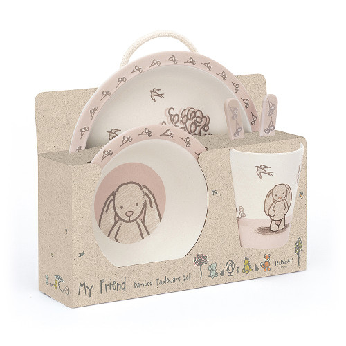 For merry mealtimes, the My Friend Bunny Bamboo Set is top of the hops! Pastel-gentle in pink, white and cocoa, it's strong, light and tumble-safe! This gorgeous box set contains a plate, bowl, tumbler, spoon and fork.