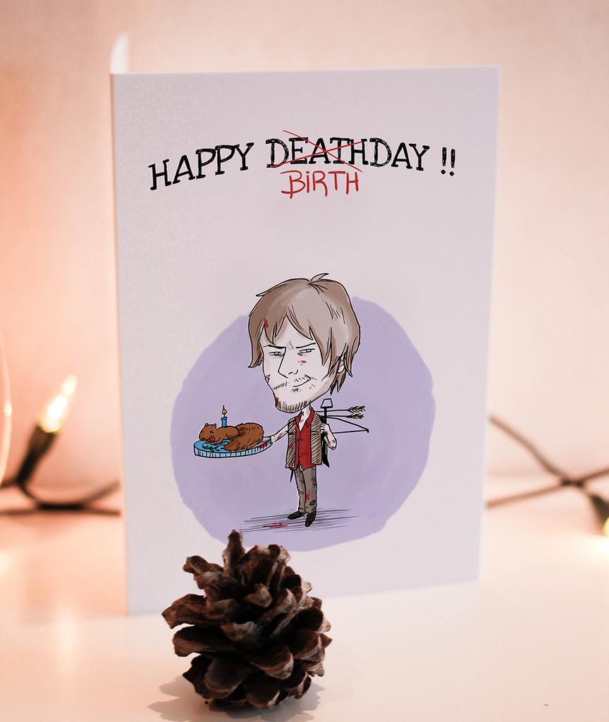 Birthday Card , Printable Card, Daryl Dixon, walking dead, Zombie