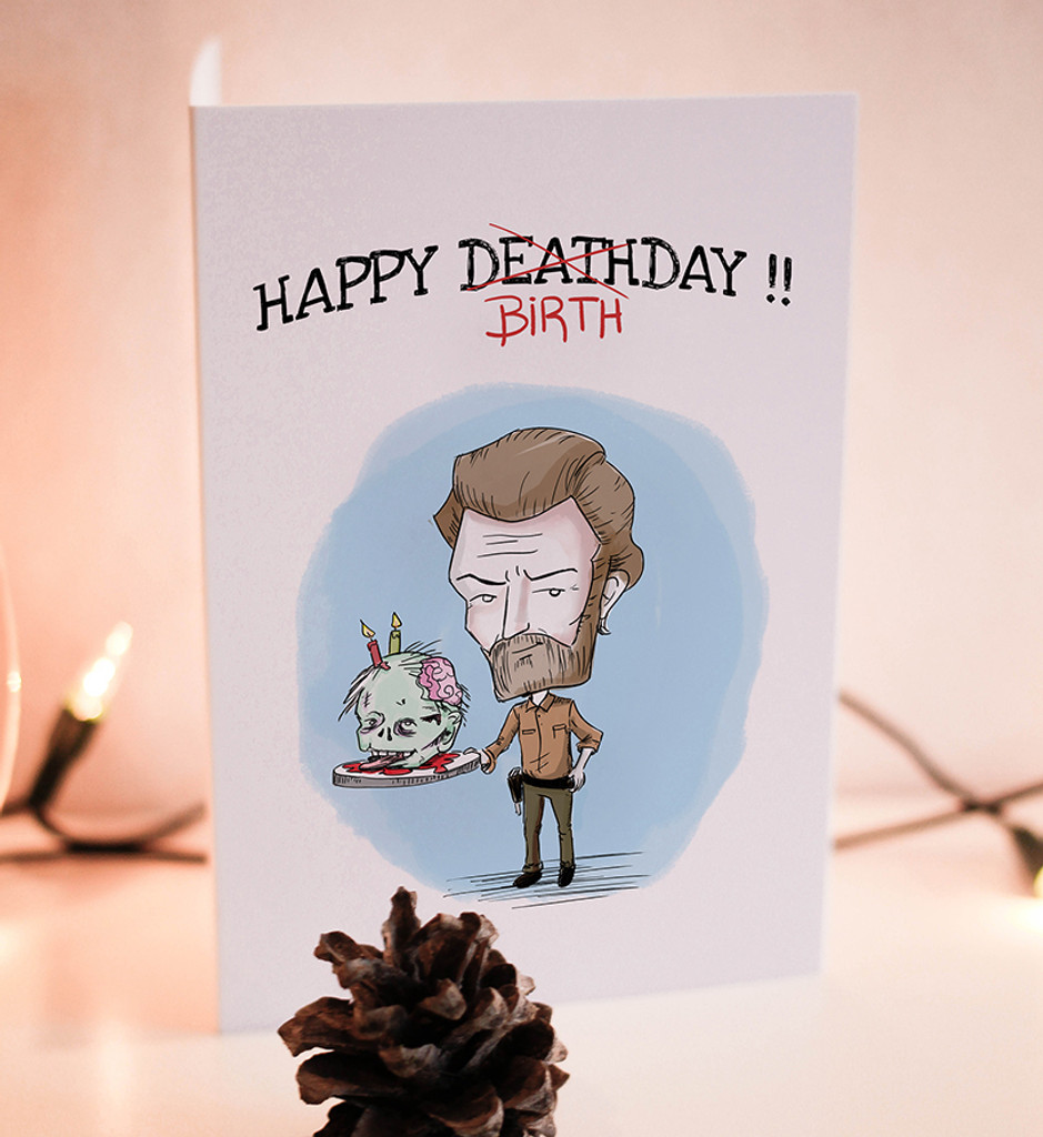 Birthday Card Printable Rick Walking Dead Zombie