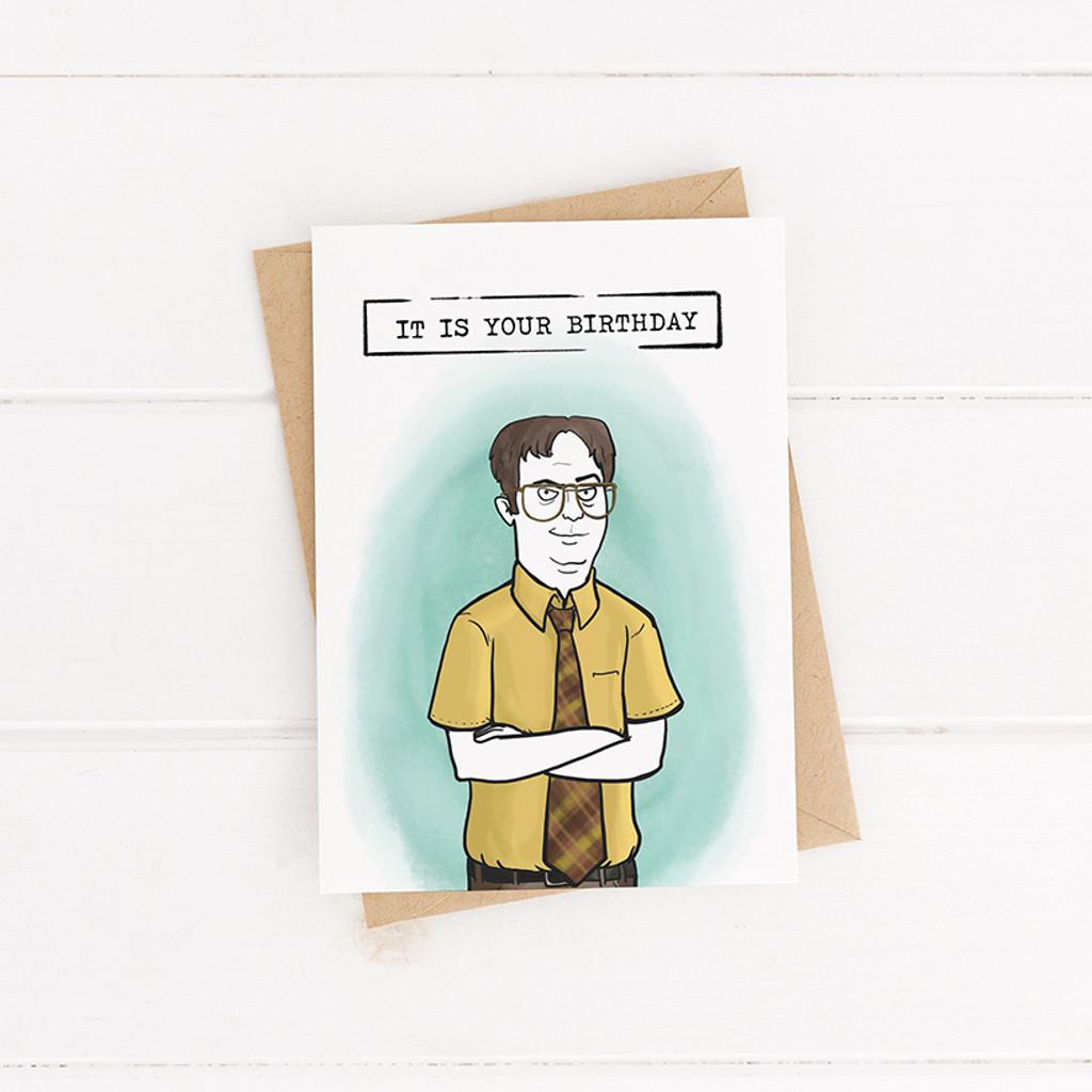 Birthday Card Dwight Printable Card The Office Bday Card Wadadesigns
