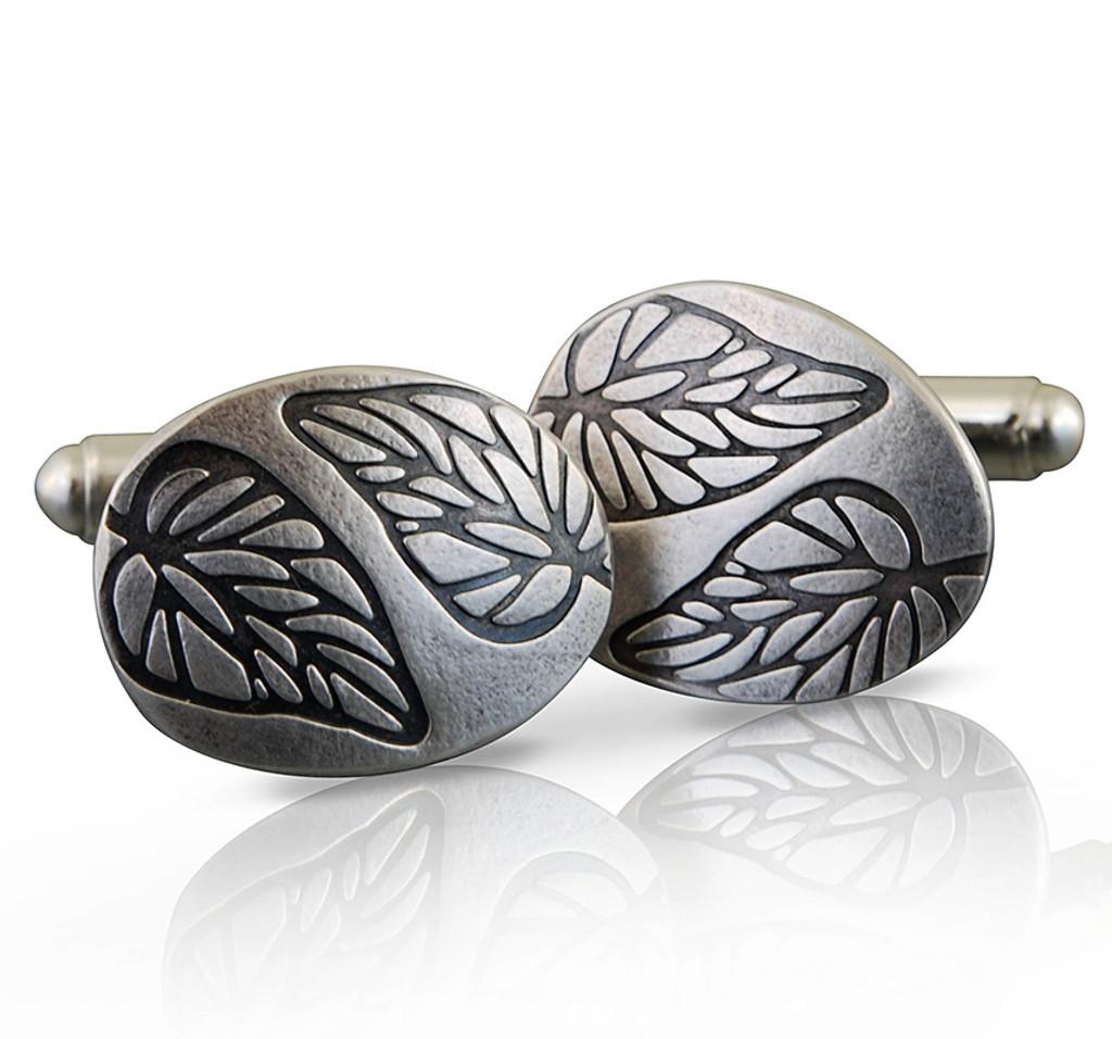 Embossed leaf cufflinks 1