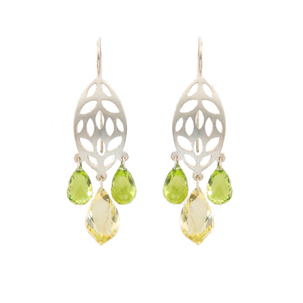 Leaf gem drop earrings
