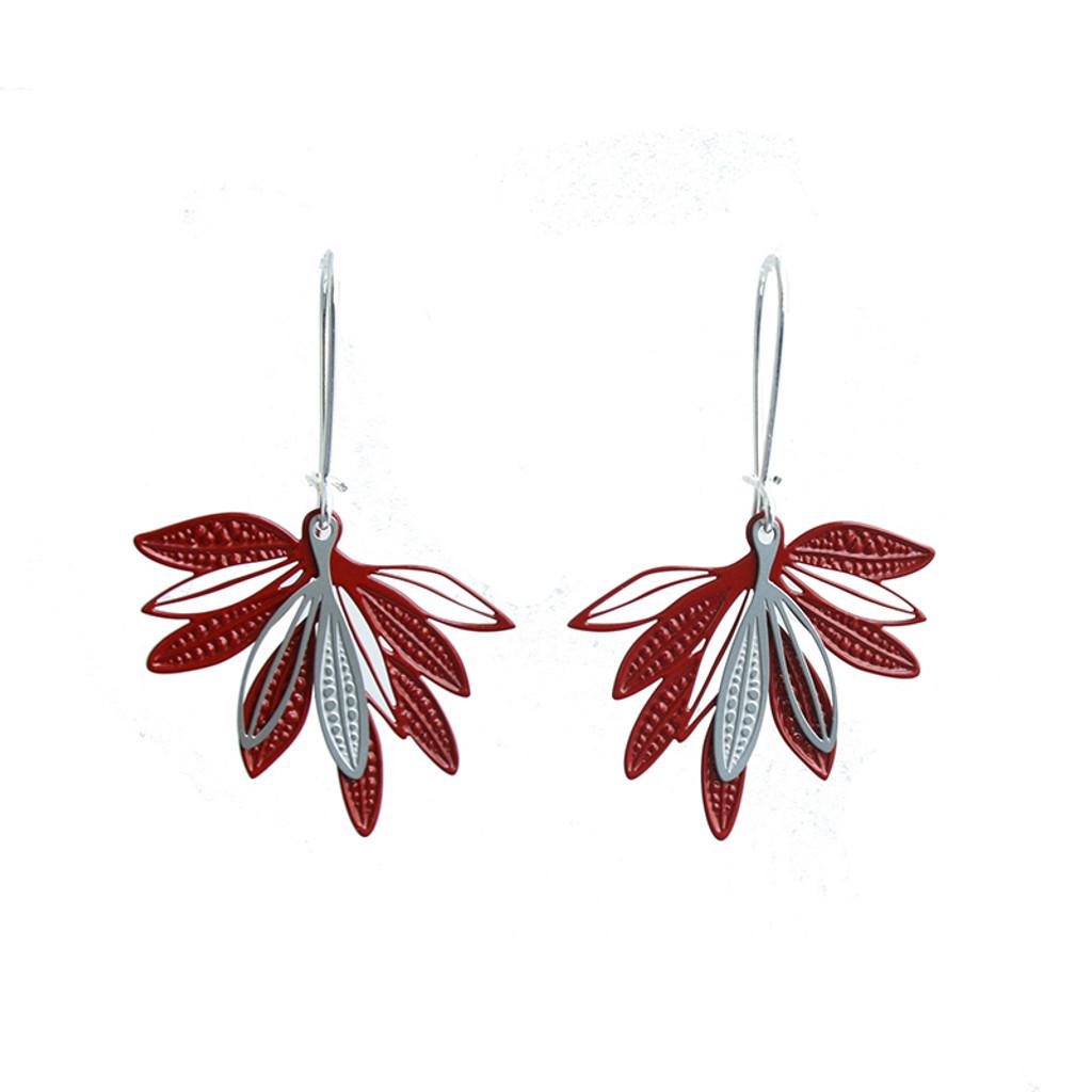 Fanned leaf earrings (colour back)