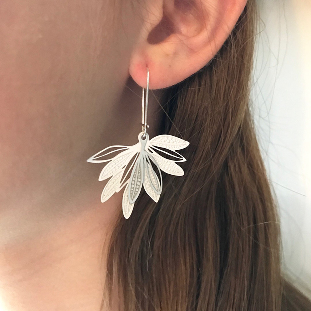 Fanned leaf earrings (colour back)
