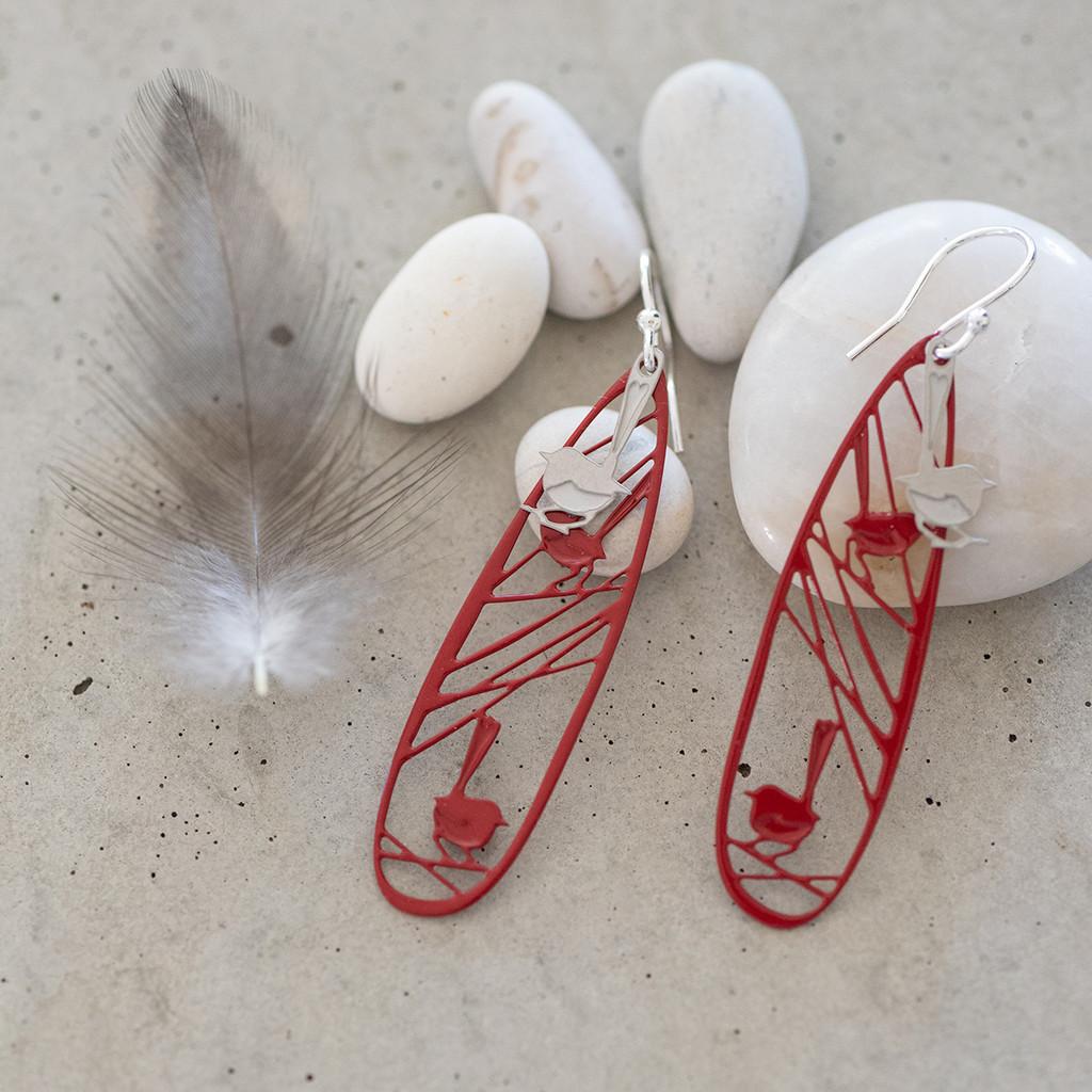 Wren earrings (Colour back)