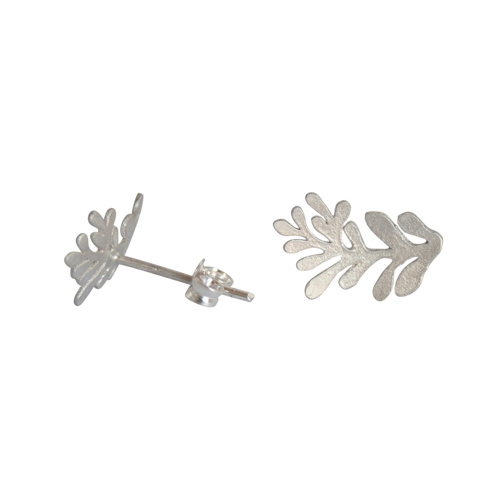 Silver frond studs