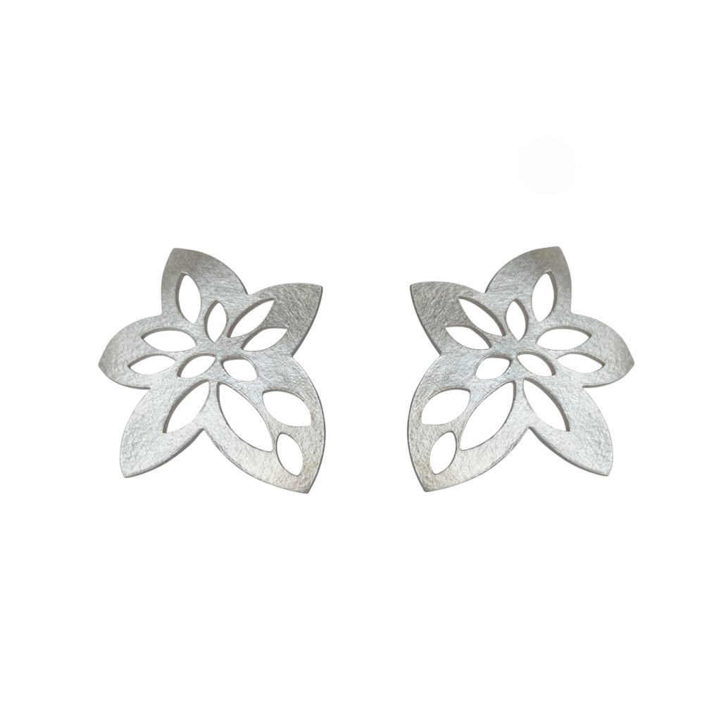 Silver star flower studs
