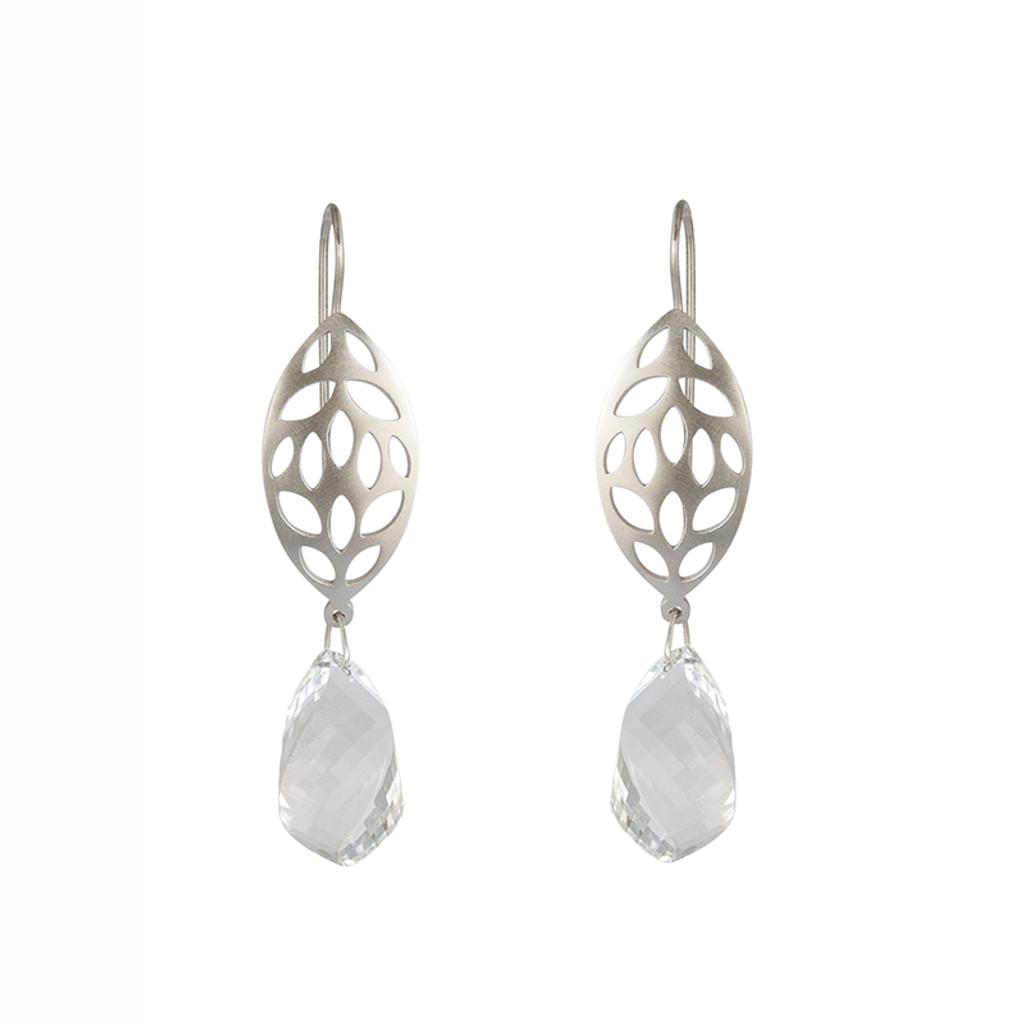 leaf quartz drop earrings