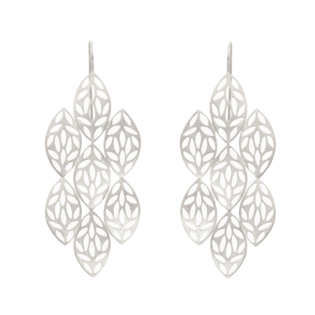 Leaf chandelier earrings, sterling silver