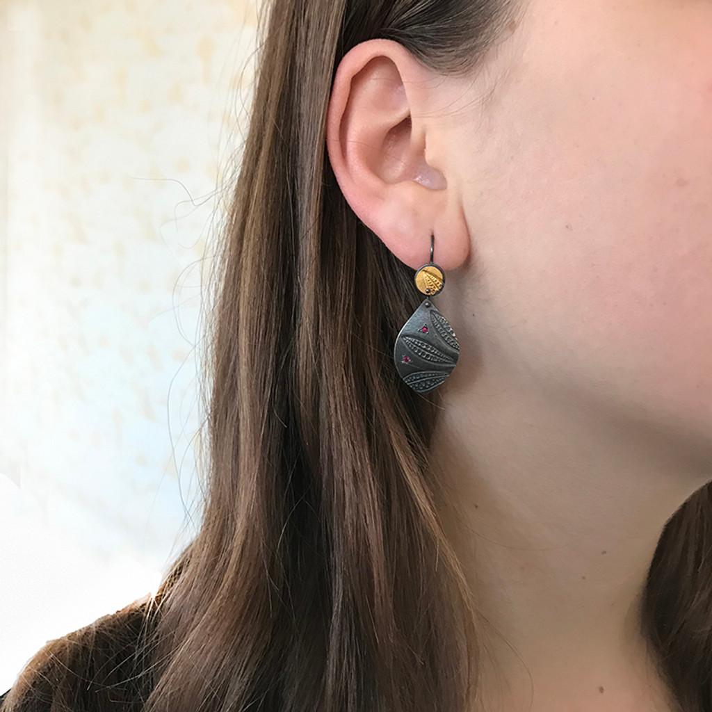 Ruby leaf imprint earrings